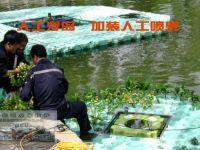 人工浮岛上加装喷泉